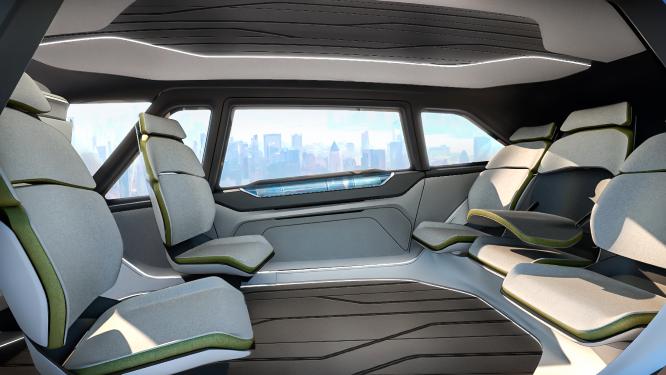 Render de conceito: interior de passageiros.